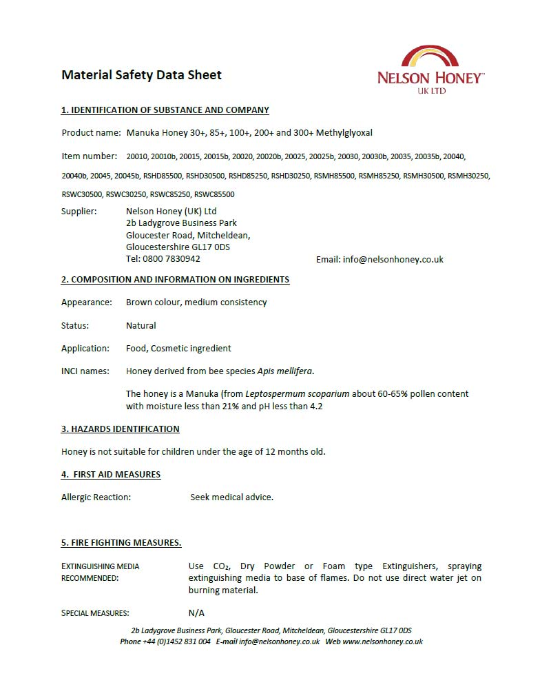 Material Safety Data Sheet - Manuka Honey